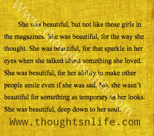 She was beautiful, but not like those girls in the magazines.