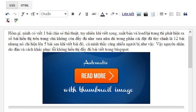 lỗi không hiển thị đầy đủ bài viết trong blogspot