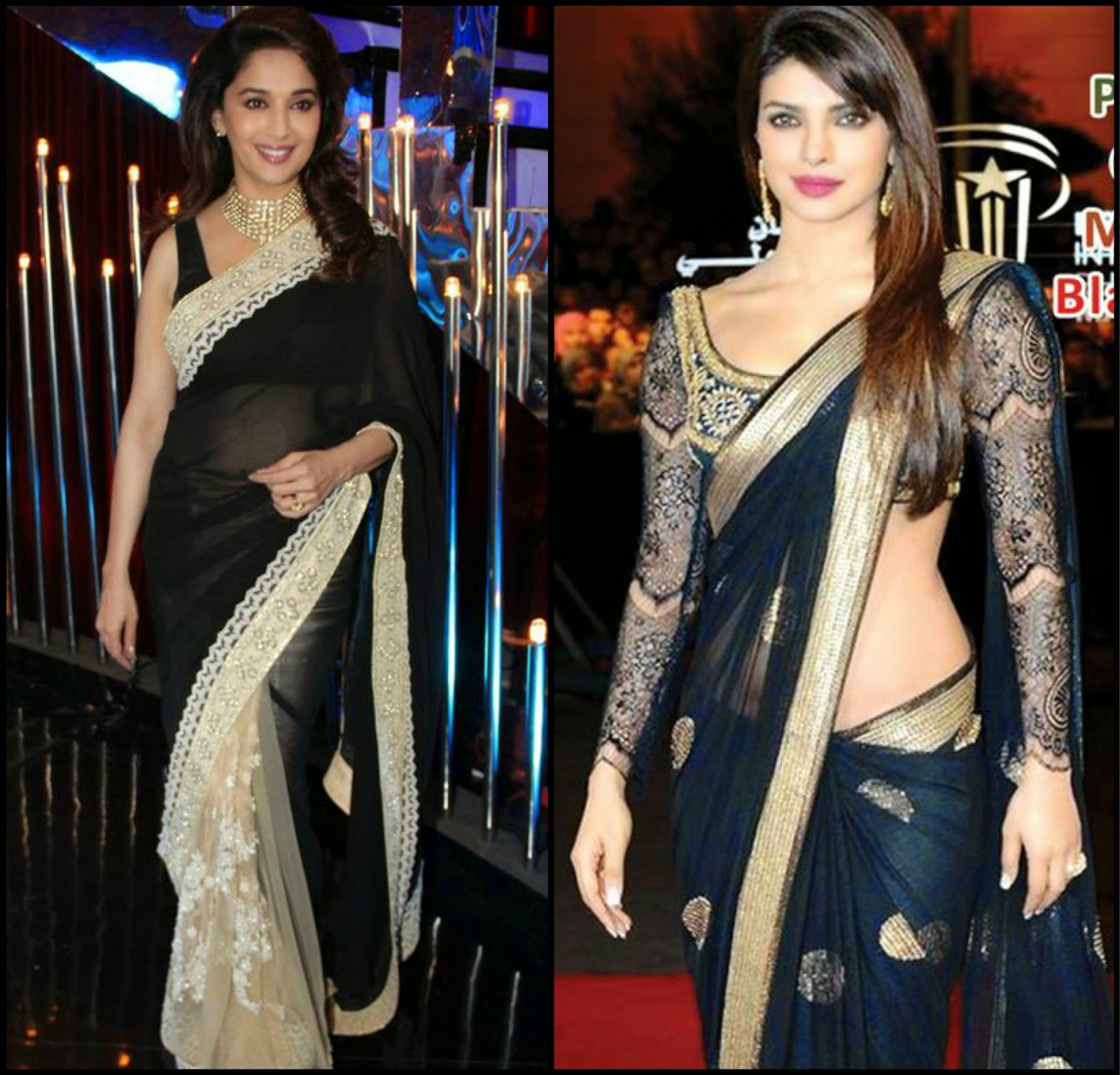 Madhuri & Priyanka in black saree, Celebs in sabyasachi sarees, celebs in black saree