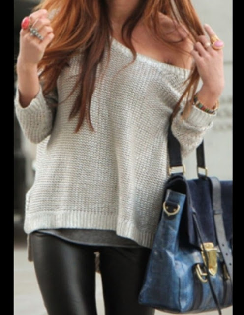 Leather leggings with sweater