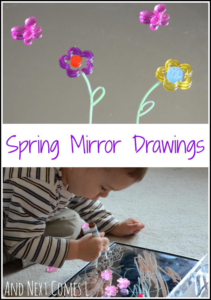 A spring invitation to create and draw using mirrors from And Next Comes L