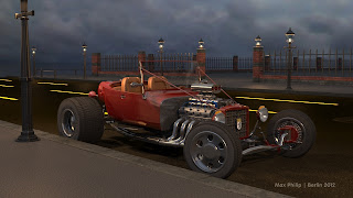 A unfinished Hot Rod scene with a wall and iron fence in the background