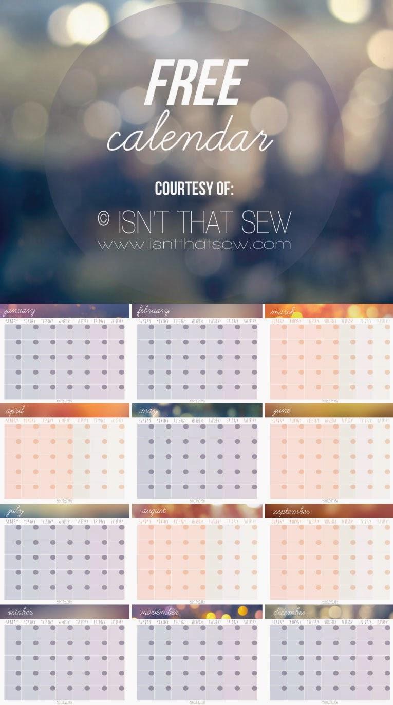 Free Calendar || www.isntthatsew.com