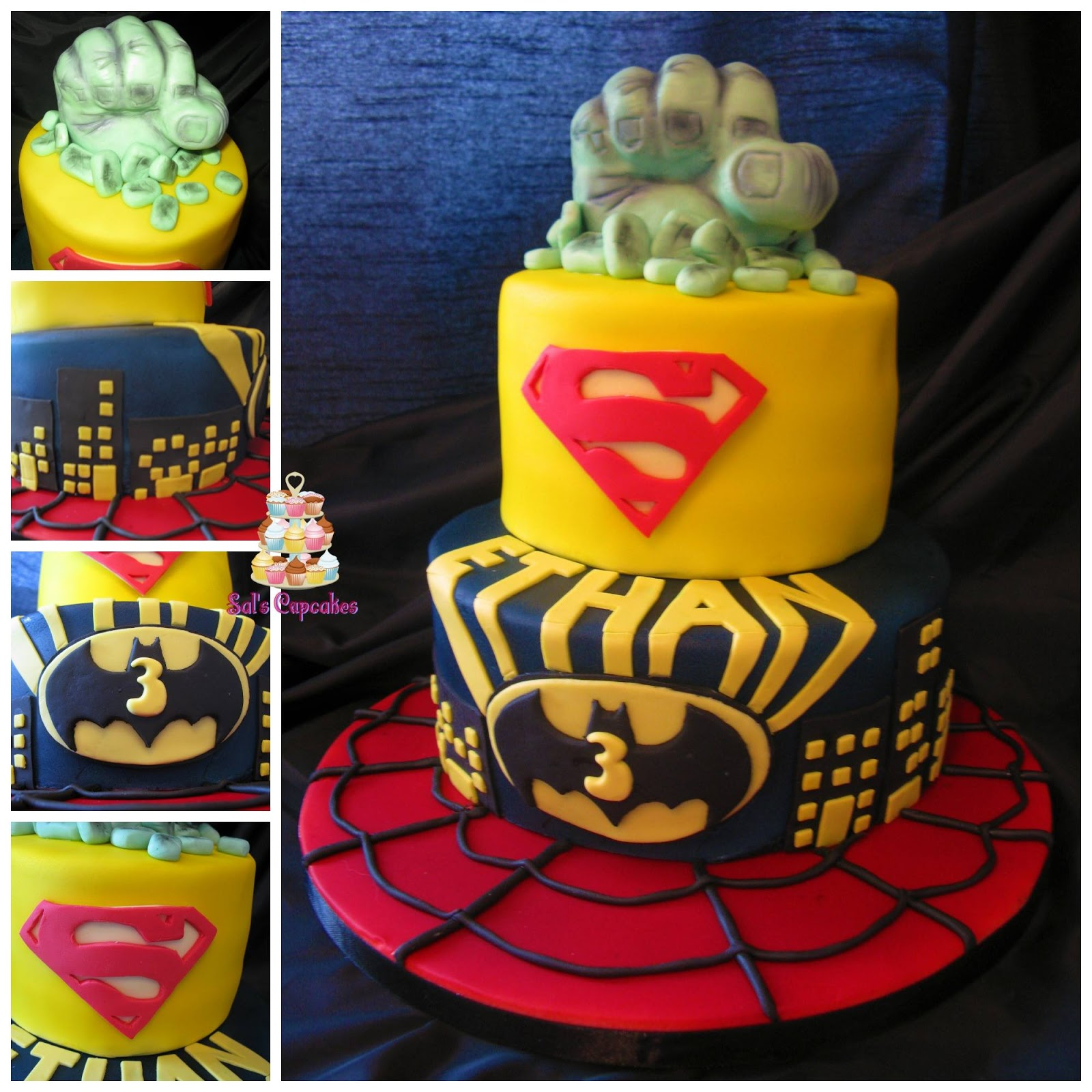 Spiderman, Batman, Superman and The Hulk all in one cake!