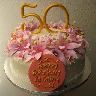 Romantic Design 50th Birthday Cakes for Women
