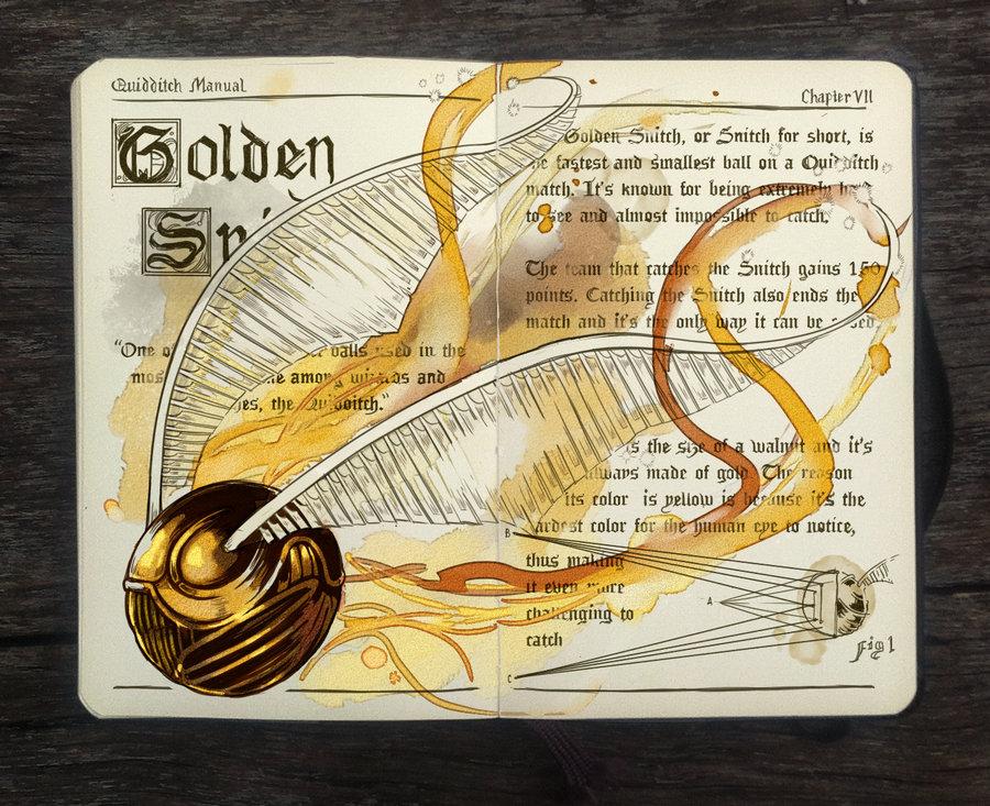 09-Golden-Snitch-Gabriel-Picolo-kun-Harry-Potter-Moleskine-Drawings-of-Wizard-Spells-www-designstack-co