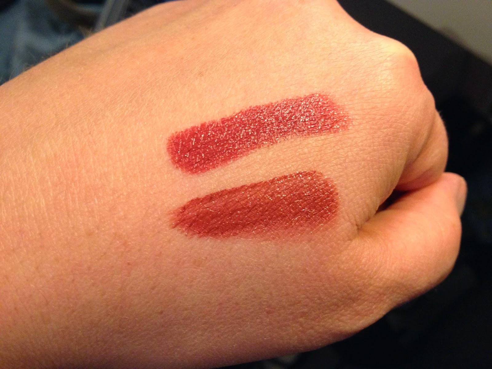 L'Oreal Infallible 24HR Lip Colour - Incessant Russet swatch vs MAC Brick-O-La Lipstick