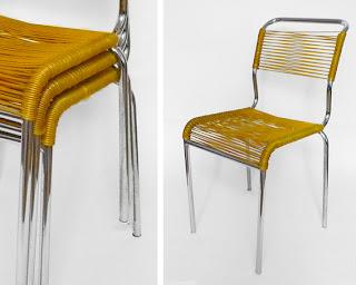 les traficoteuses chaises scoubidou jaunes. Black Bedroom Furniture Sets. Home Design Ideas
