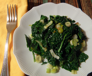 Green Garlic Kale on Plate with Fork