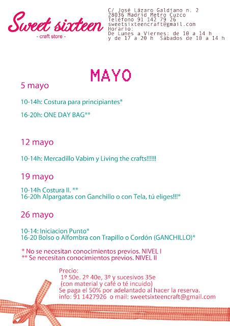 calendario talleres de mayo en Sweet Sixteen