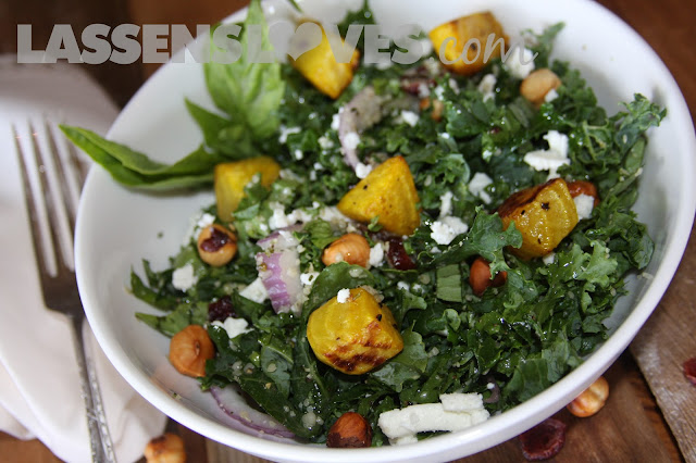 kale+salad, roasted+beet+salad, roasted+beets, hazelnut+recipes, kale+recipes, healthy+salads, golden+beets
