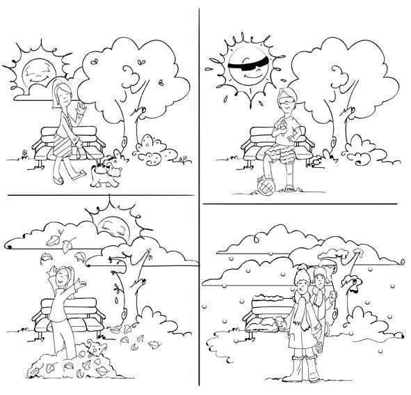 Dibujos de las cuatro estaciones del año para pintar - Imagui
