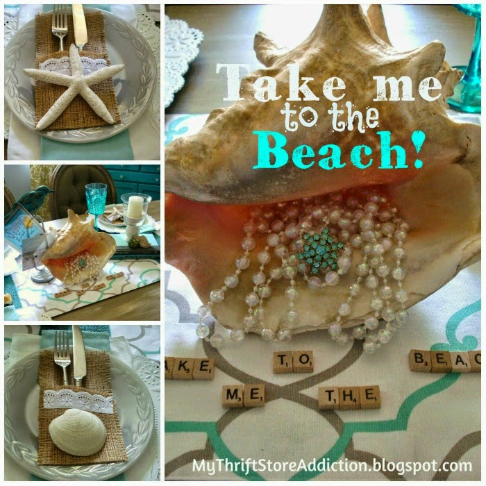 My Thrift Store Addiction shared her Take Me to the Beach Tablescape featured at One More Time Events.com
