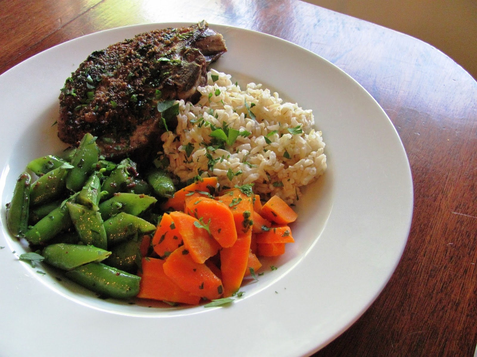 ... Sustained: {CSA Recipes} Herb Crusted Lamb Chops with Sugar Snap Peas