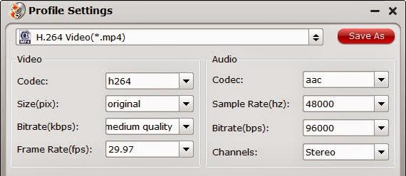 MP4 video settings