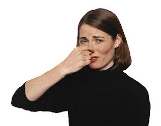 stinky smell causes lady to hold her nose plugged to avoid smell