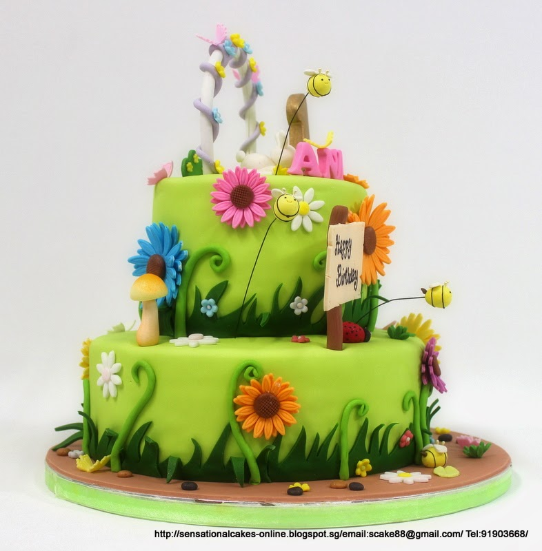 sweet garden theme flower cake singapore colorful daisey design simple cake singapore 1st birthday garden theme cake singapore - Garden Design Birthday Cake