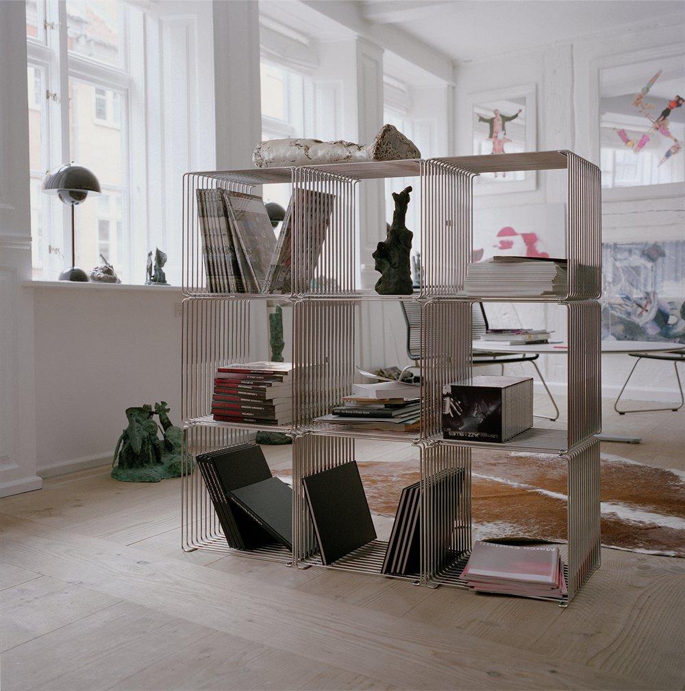Wire™ Modern Modular Book Shelf Stacking Cube Shelving - Silver ...