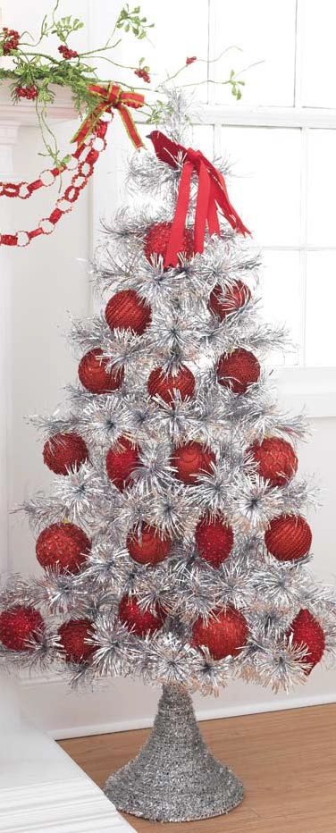 Raz christmas at shelley b home and holiday tinsel tree for Red and silver christmas tree decorations