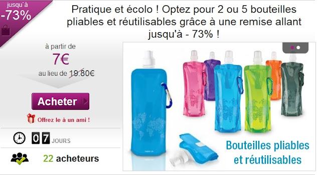 2 bouteilles pliables et réutilisables à 7€ au lieu de 19.80€  Bon plan pratique et écolo bon plan bouteille