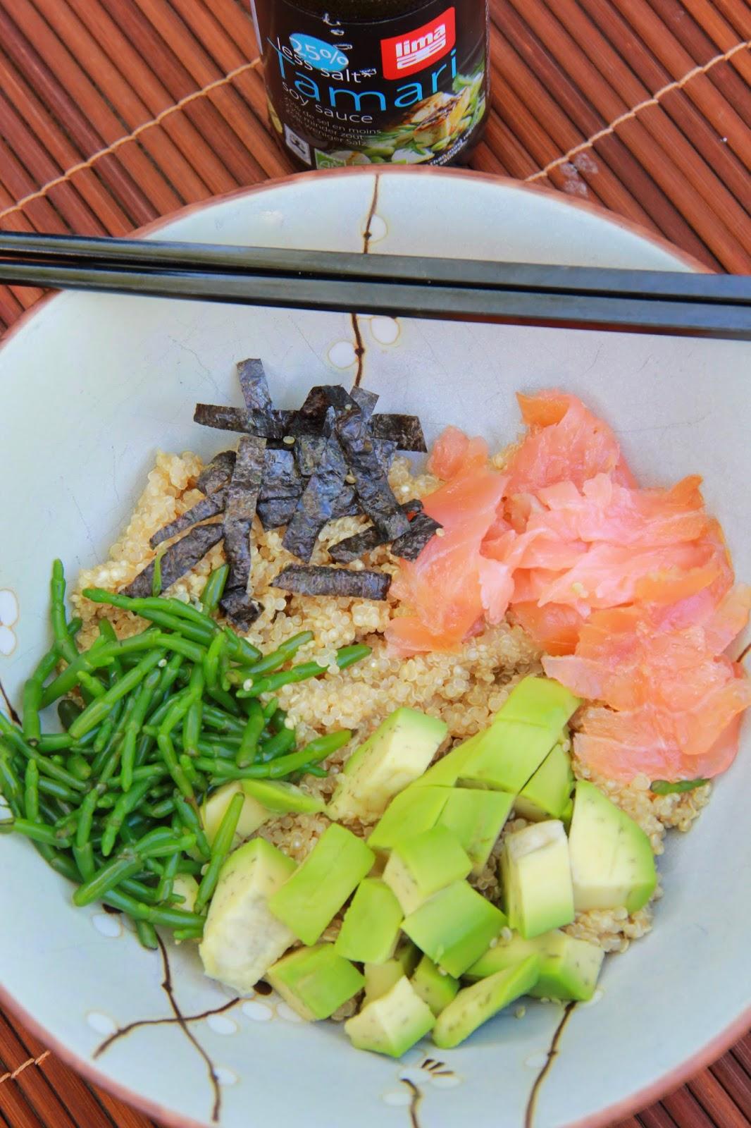 Detox voor lekkerbekken - quinoa sushi bowl - www.desmaakvancecile.com