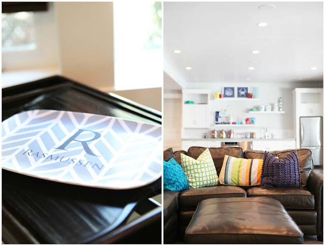 Modern Basement Family Room Personalized Monogram Tray