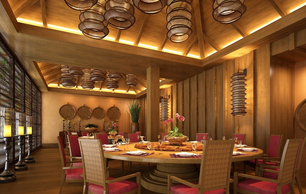 Wood wall and ceiling with bamboo lamps in restaurant