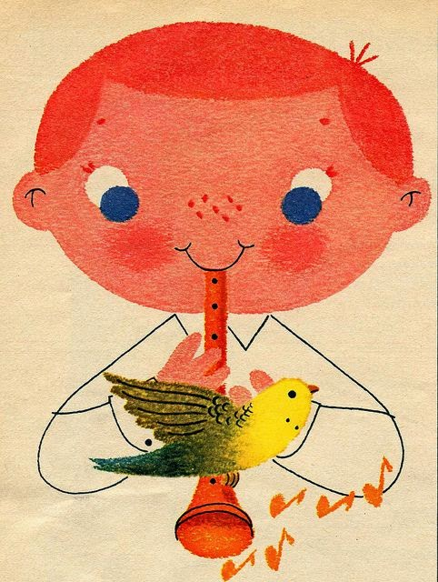 illustration for a vintage ad of a red haired boy with flute