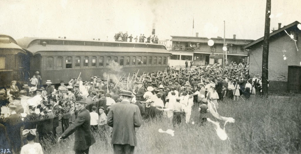 149th Battalion board troop train