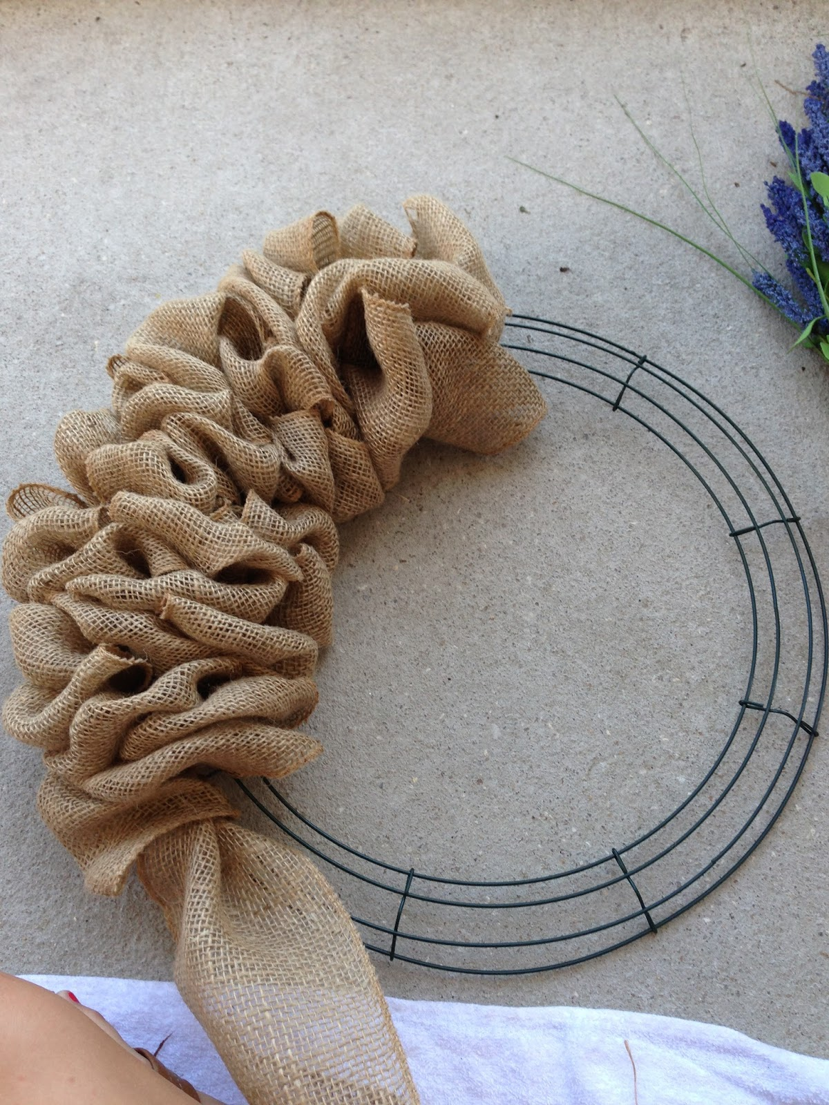 Little lovely leaders burlap wreath for Burlap ribbon craft ideas