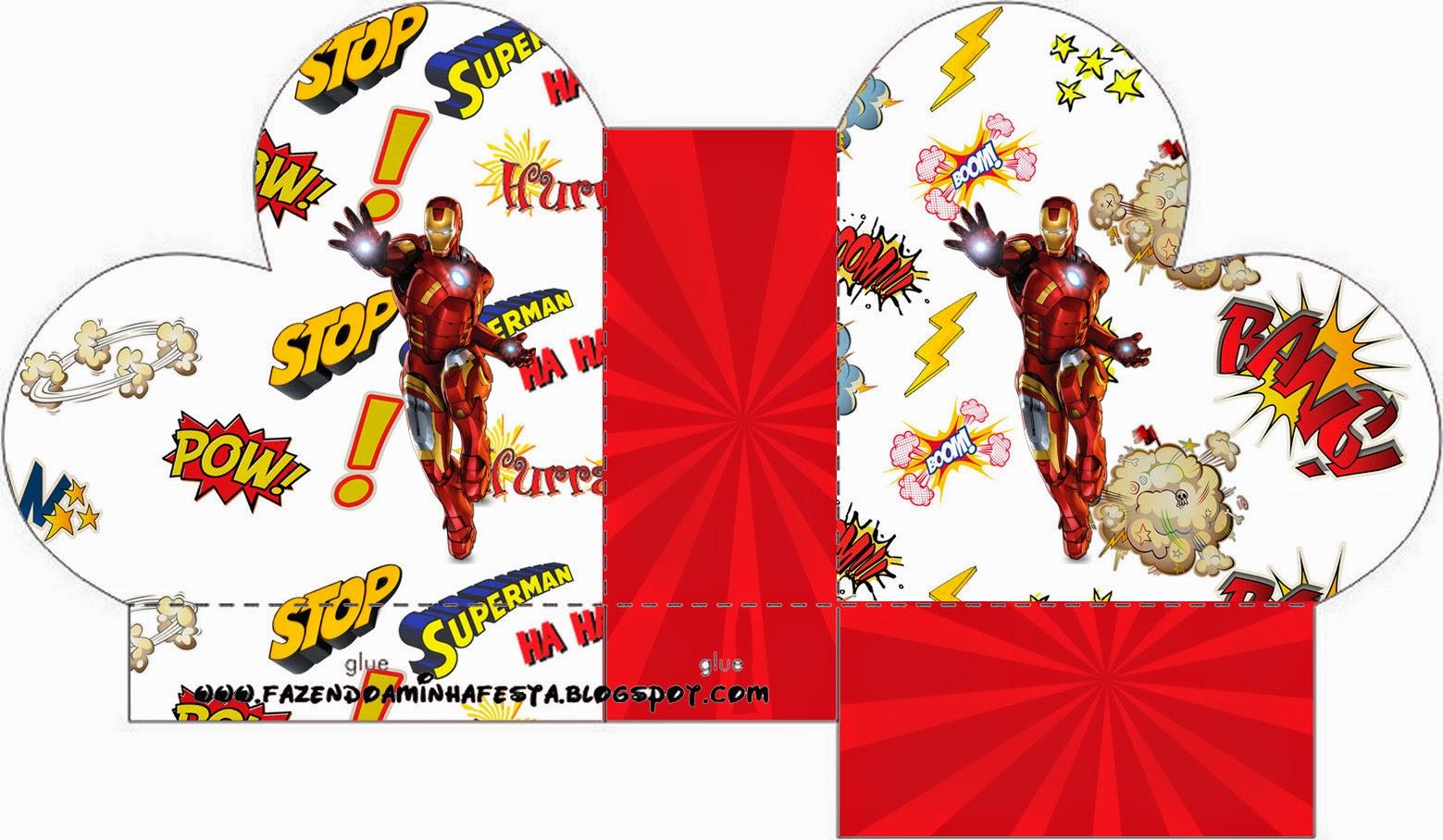 Caja abierta en forma de corazón de Iron Man.