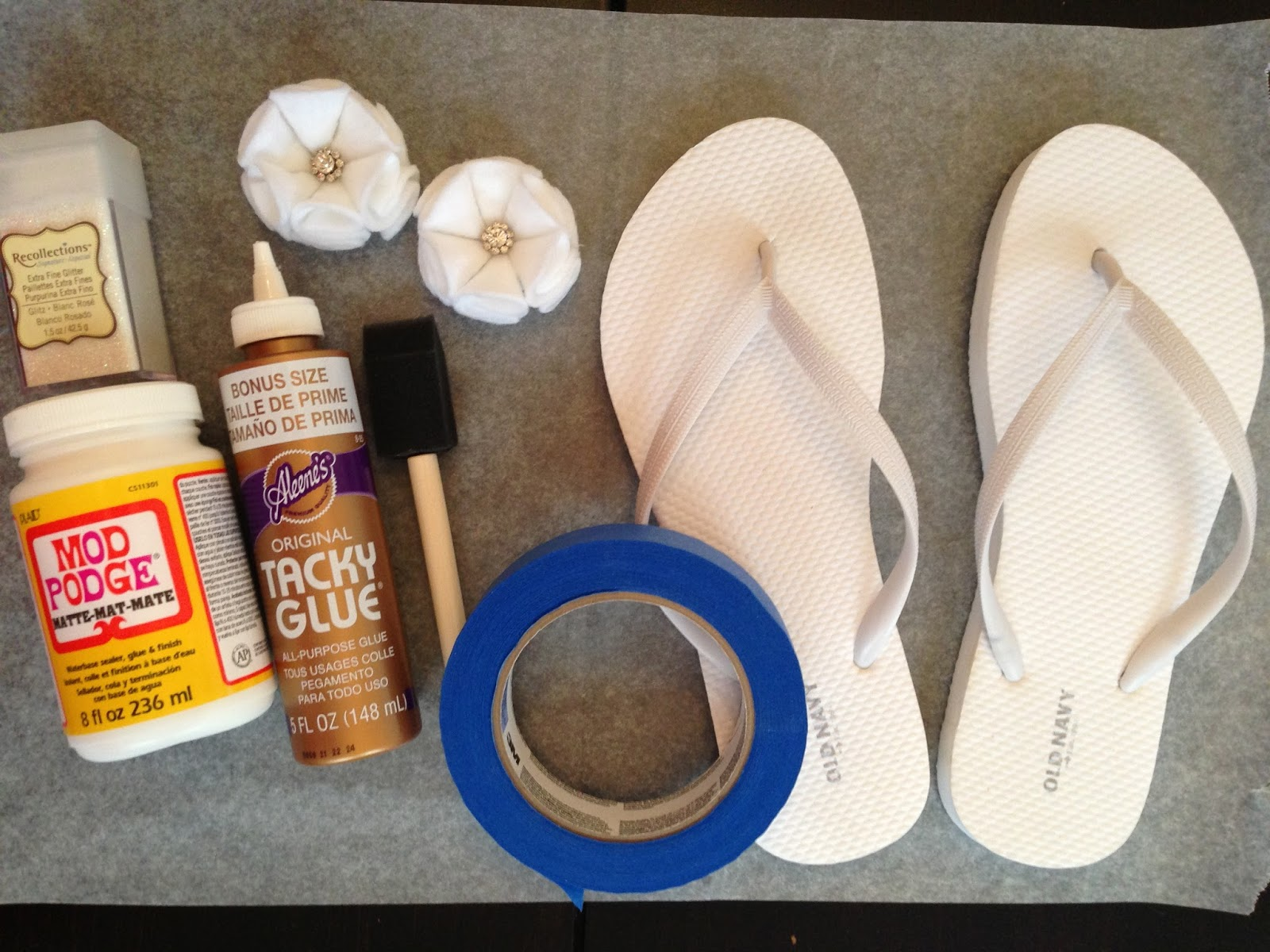 Wrap Painters Tape Around The Edges On The Flip Flop Straps To Prevent Stray Glue Glitter From Getting All Over The Place