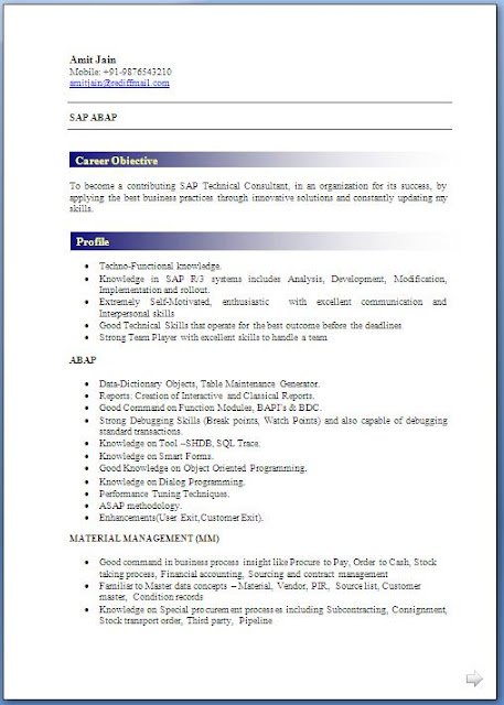 download abap fresher resume format