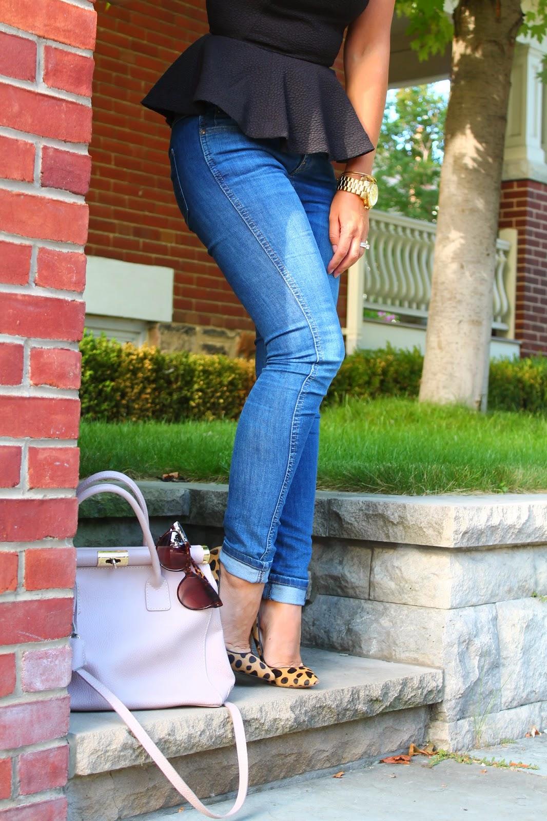 peplum, peplum top, skinny jeans and peplum top, leopard print pumps, Lauren Marinis, blogerke, cat eye sunglasses, leopard print trend, Toronto street style