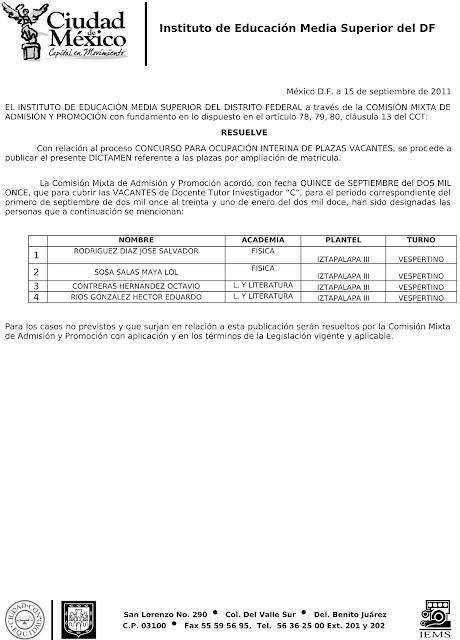 La hormiga de la base resultados plazas docentes 2011 for Convocatoria plazas docentes