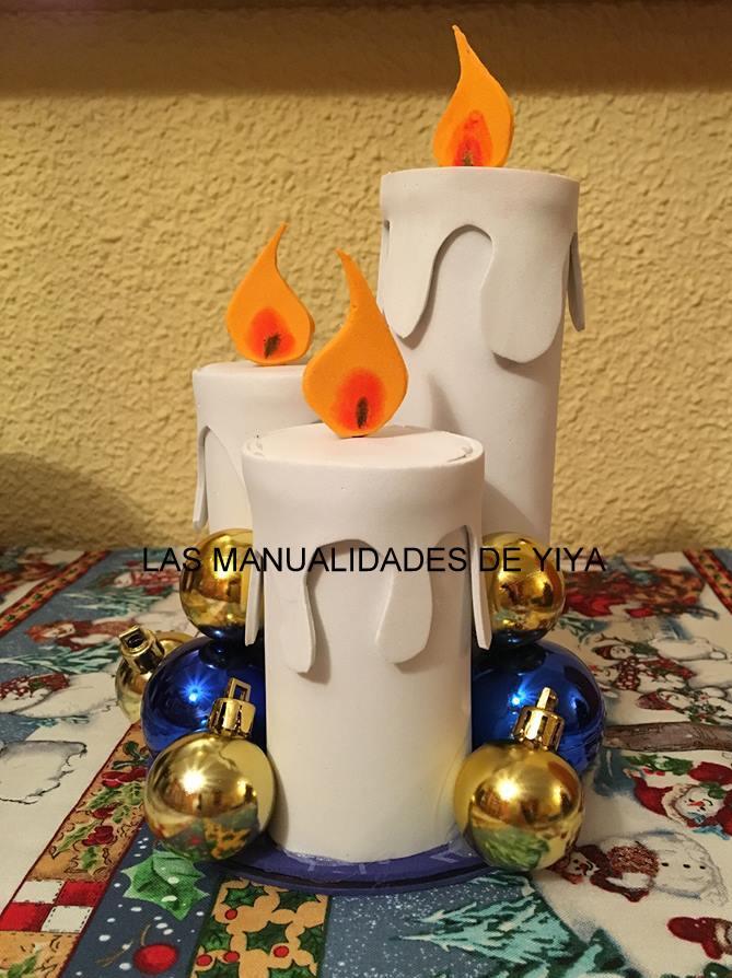 las manualidades de yiya velas navide as en goma eva con