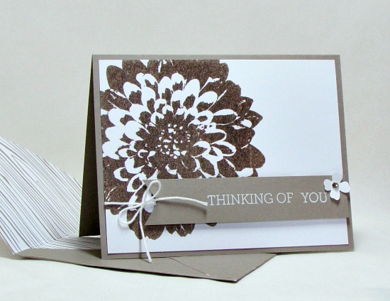 Quick and easy Definitely Dahlia embossed thinking of you card in Stampin' Up! In Colors.
