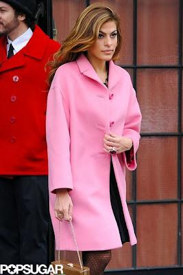 eva mendes pink coat