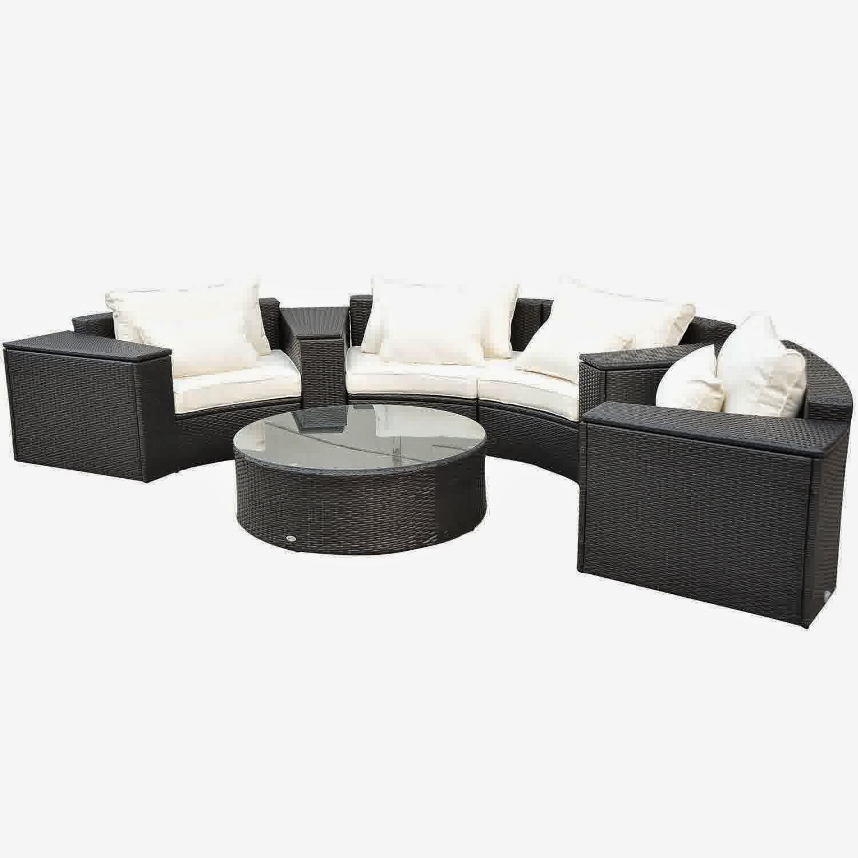 outsunny 9pc outdoor patio rattan wicker crescent couch sofa set