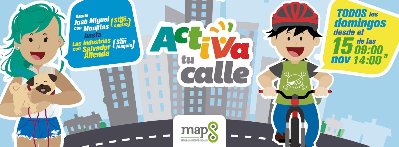 Activa tu calle es un proyecto social creado por la ong map8 con el fin de integrar a toda la comunidad este espacio imbolucra a las comunas de san