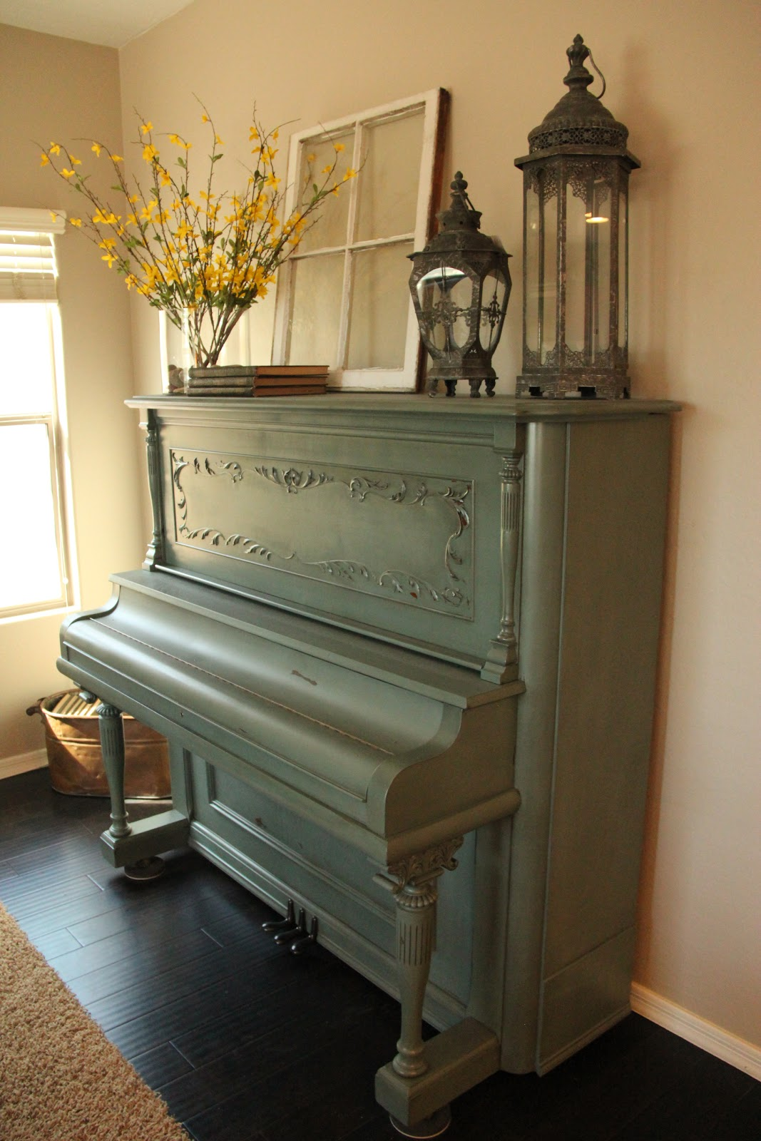 New to you painted distressed piano for Piano room decor