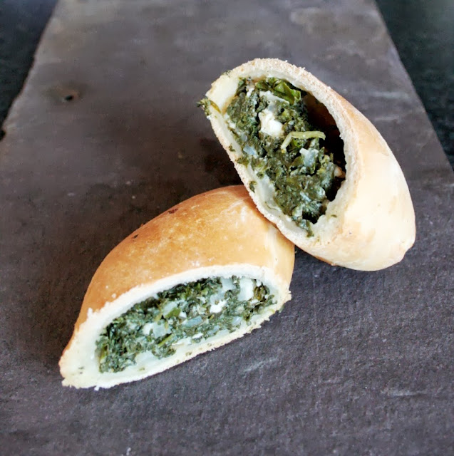 Greek spinach and kale pies (Spanakopita) are packed with greens and feta cheese.  Perfect for picnics!