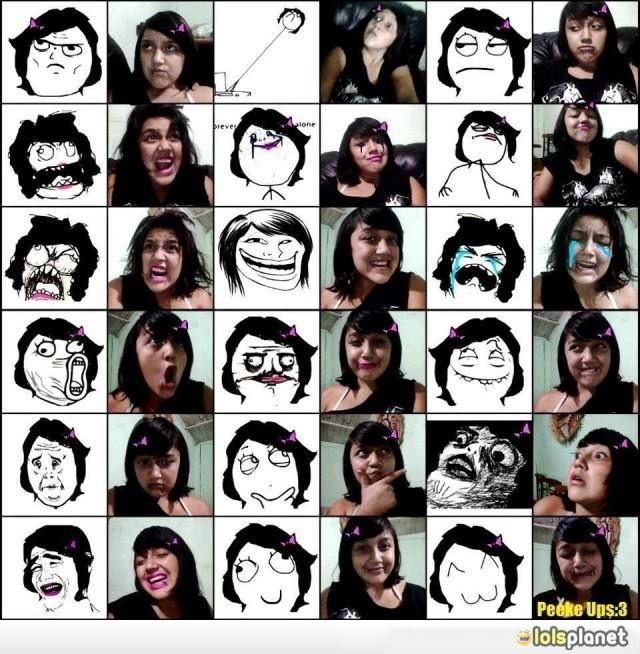 Talented girl making faces of meme, funny girl making cute faces, she is talented, funny comics meme, real life derpina
