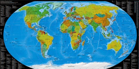 Y�ksek ��z�n�rl�kte bir d�nya haritas�