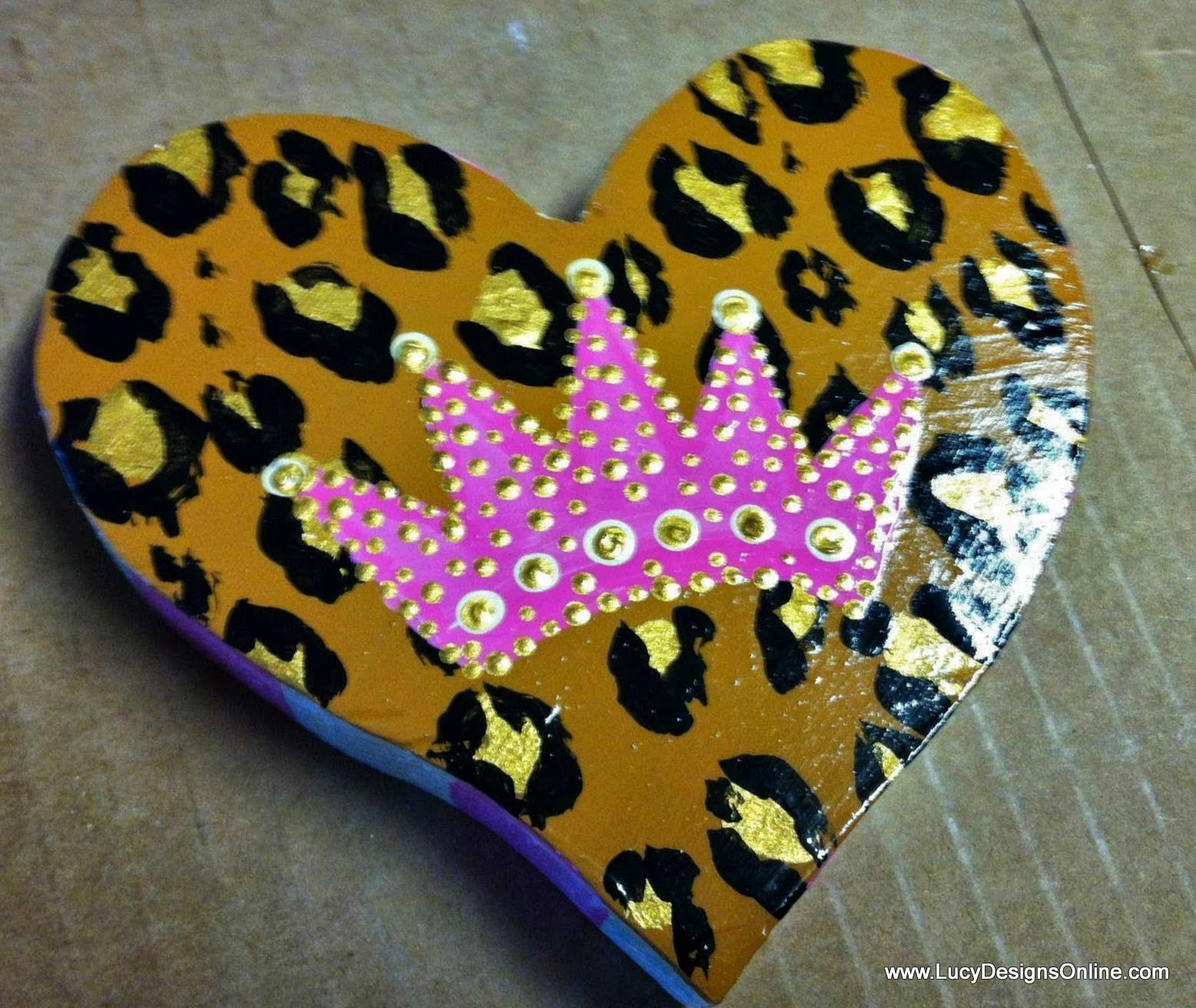 hand painted leopard print heart