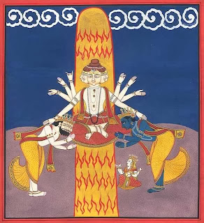 Brahma and Vishnu witness Shiva emerging from the Shiva Lingam, the cosmic pillar of fire.