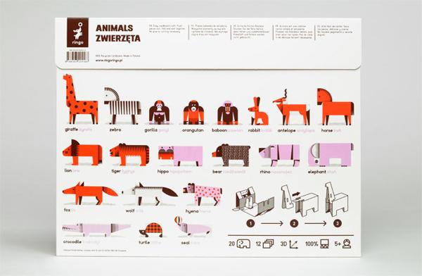 Fold up paper animals - Polish design