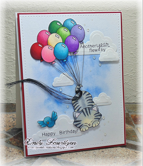 Cat with balloons Birthday card by Emily Lauritzen | Newton's Birthday Flutter stamp set by Newton's Nook Designs #newtonsnook #birthdaycard