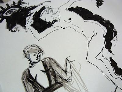 Übungskizze weibliche Aktpose Tusche