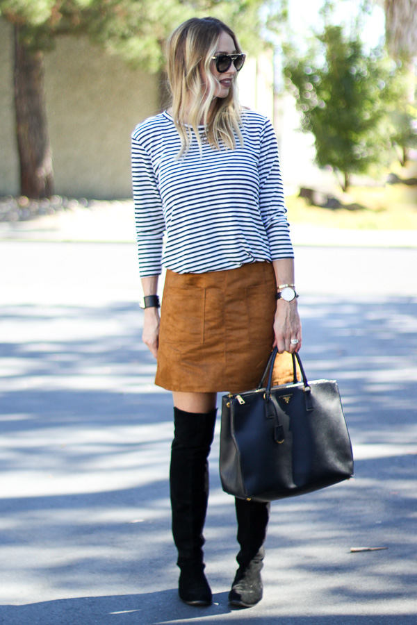suede a line skirt fall style parlor girl